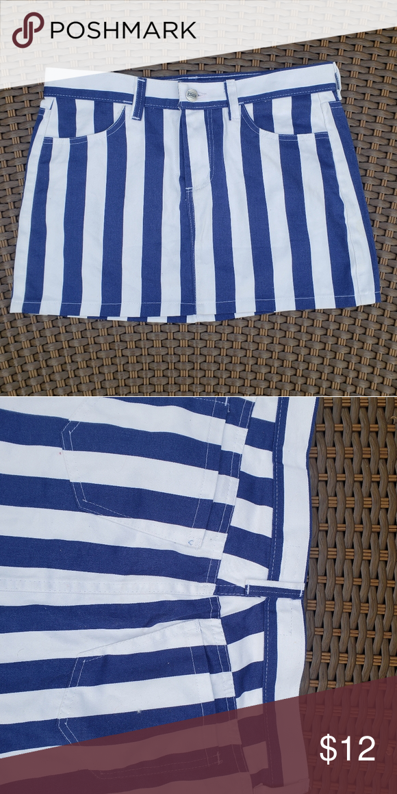 Blue White Striped Mini Skirt Denim Material Mini Skirt With Blue And White Vertical Stripes It Has Belt Loops Two Fr Blue And White Mini Skirts White Stripe