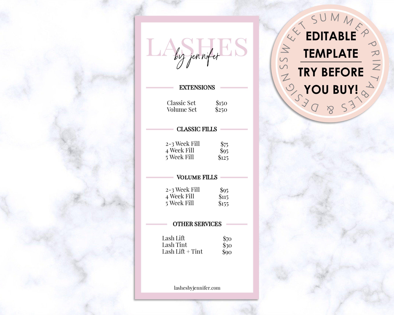 Lashes Editable Price List, Lashes Editable Rack Card