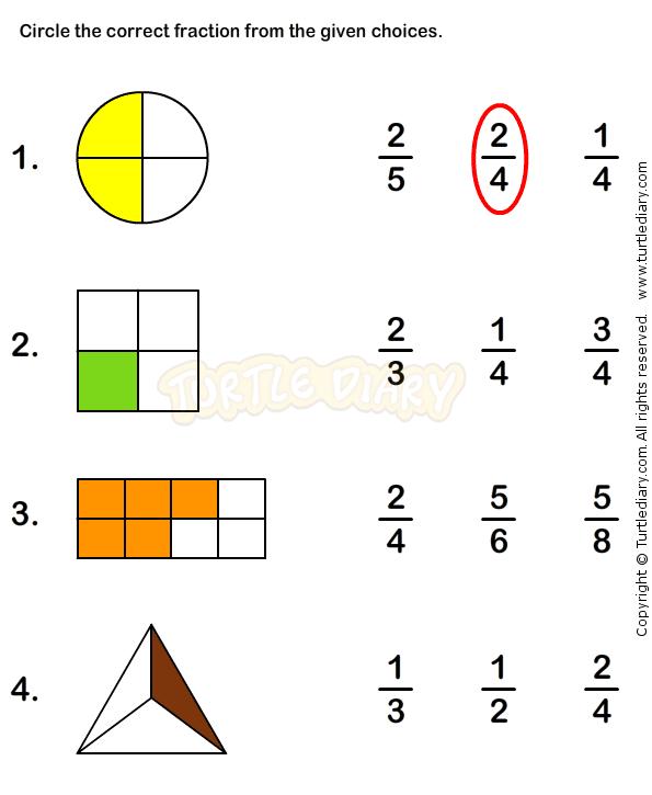 Fraction worksheets for grade 1