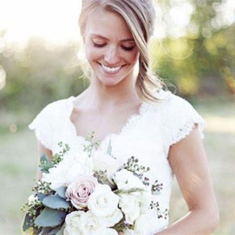 New Modest Design Lace Wedding Dresses Cap Sleeve V-neck Floor Length Sheath 2016 Spring Bridal Gown vestido de noiva Custom W91