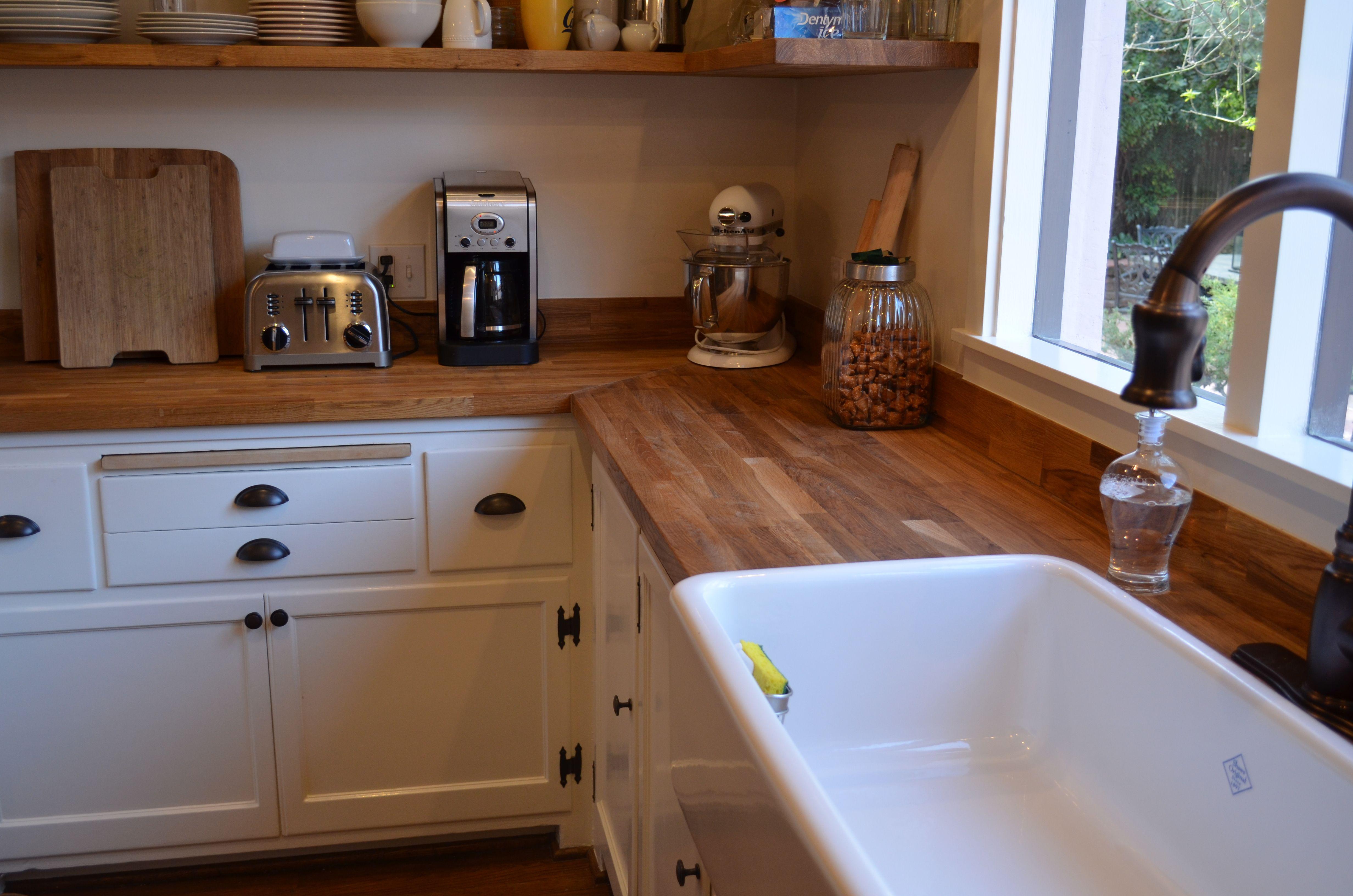 Woodem Butcher Block Countertops Plus White Sink Plus Cabinet For