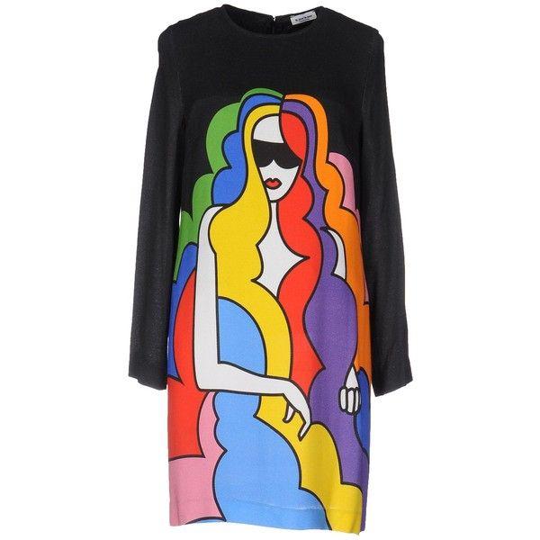Au Jour Le Jour Short Dress (1.215 BRL) ❤ liked on Polyvore featuring dresses, black, zipper dress, long sleeve short dress, au jour le jour, zip dress and long sleeve mini dress