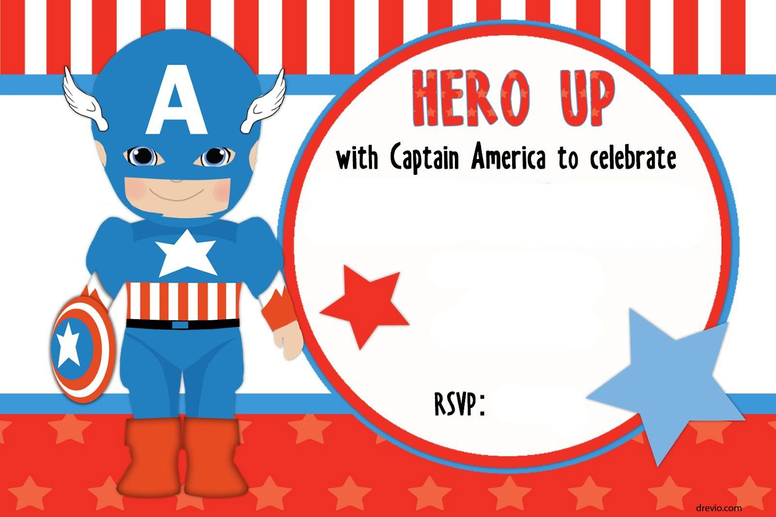 FREE Printable Captain America Birthday Invitation Template | Free ...