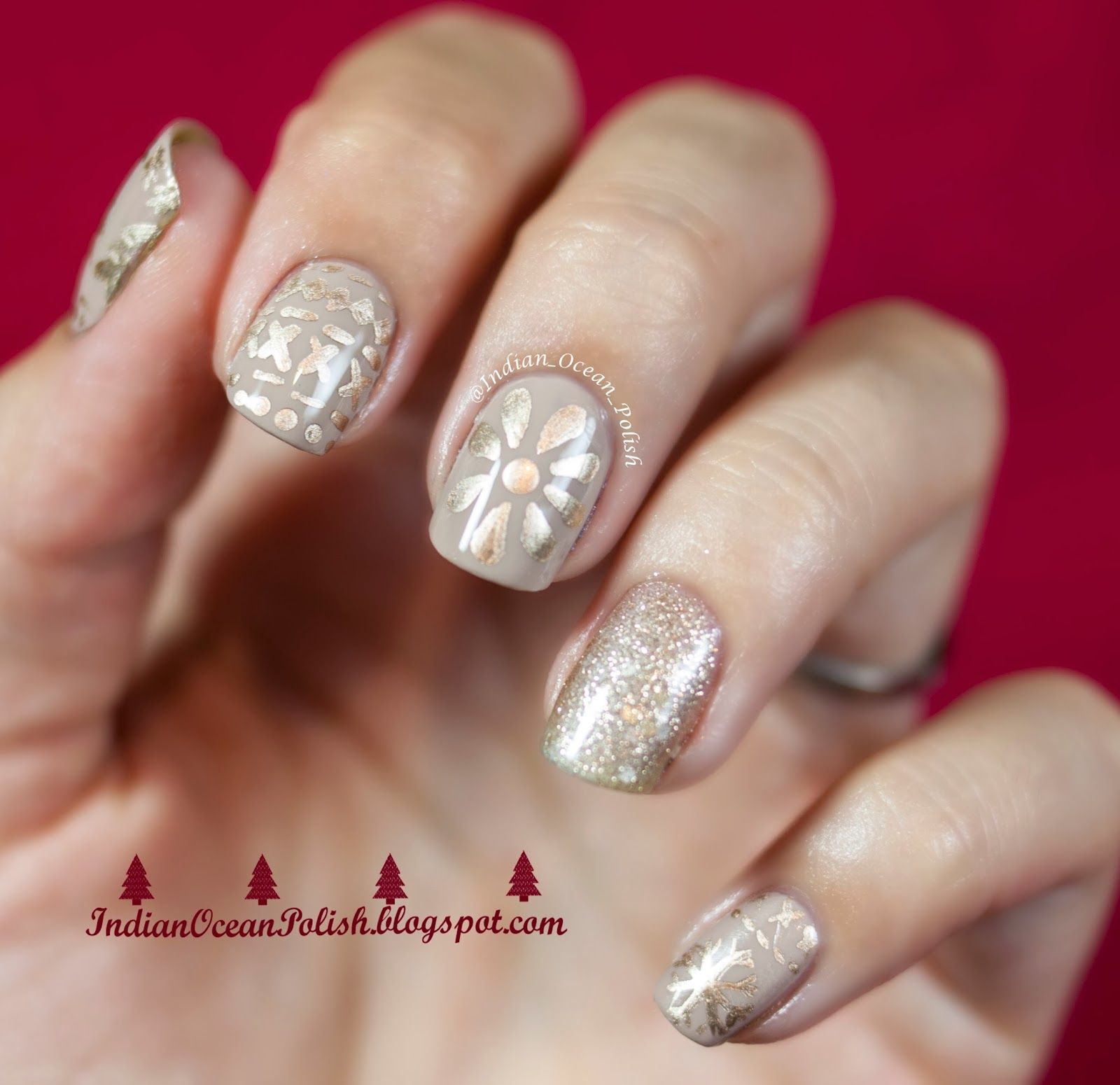 I must be the only nail art blogger whom has made it to half way indian ocean polish christmas 2013 nail art ideas simple and not prinsesfo Images