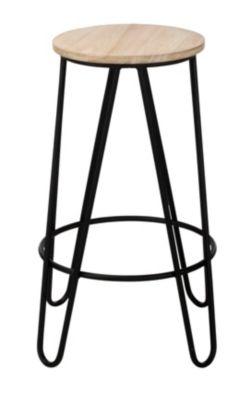 Tabouret de bar H 63 cm ESSIA Bois clair noir