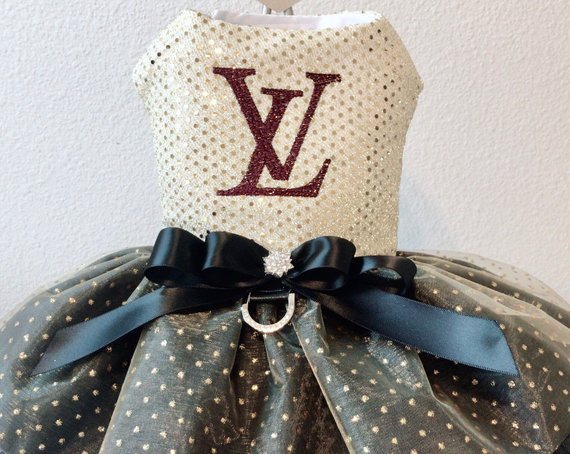 eedc018c36ff Louis Vuitton inspired embroidered dog Dress with swarovski blings ...