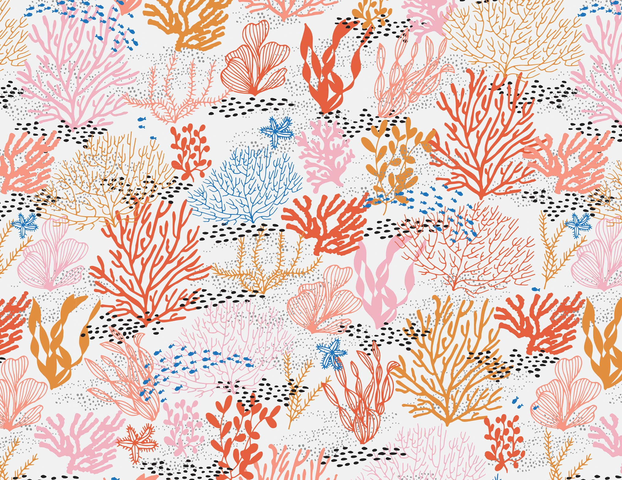 Coral Reef Seamless Pattern Repeating Pattern Design Reef Pattern Seamless Patterns