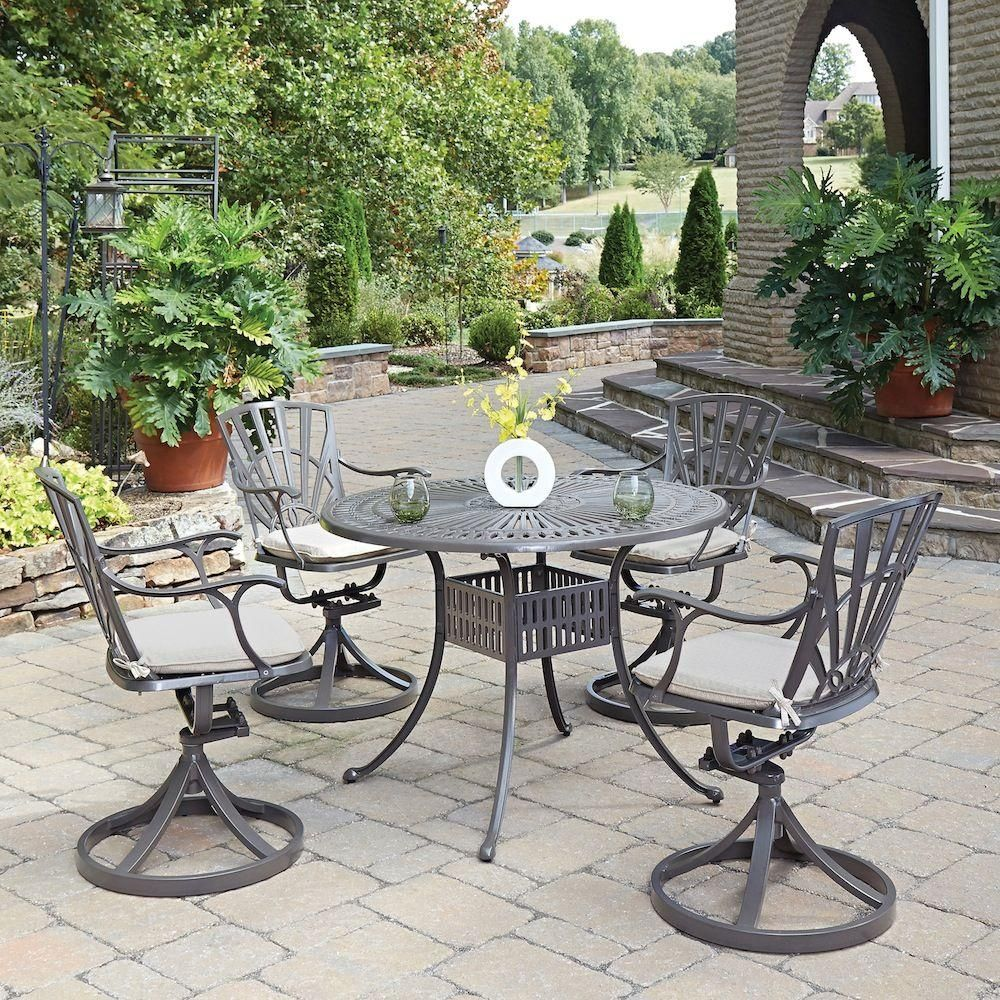 Homestyles Largo Taupe 5 Piece All Weather Patio Dining Set With Natural Cushions 5561 305c Patio Outdoor Dining Set Patio Dining Set