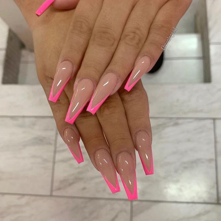 Gelpolishombre Chaunbre Pink Acrylic Nails Coffin Nails Long Coffin Nails Designs