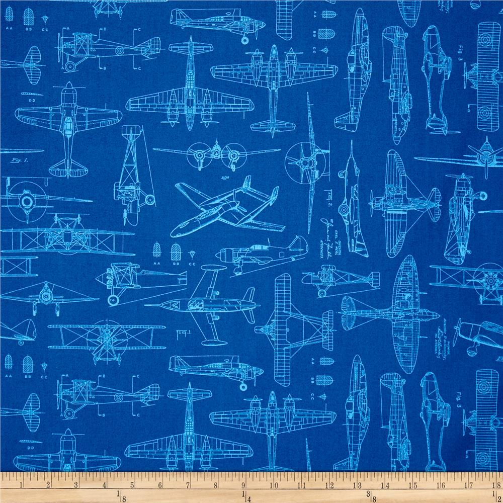 Aviator plane blueprints royal from fabricdotcom designed by dan a45c6b33808dbf3430d8fd9df5ede18ag malvernweather Choice Image