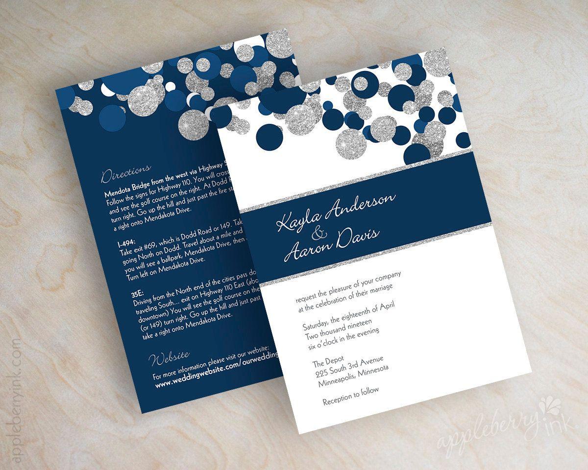 Navy Blue And Silver Glitter Polka Dot Wedding Invitations