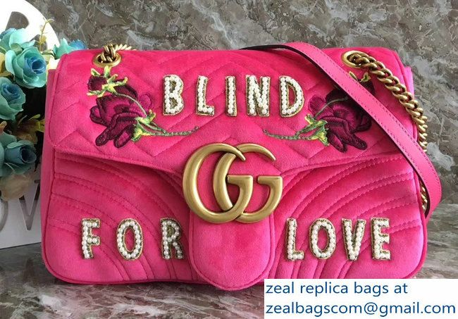 a077e8131a14 Gucci GG Marmont Embroidered Flower and Blind For Love Velvet Chevron  Medium Shoulder Bag 443496 Raspberry Pink 2018_2803115366