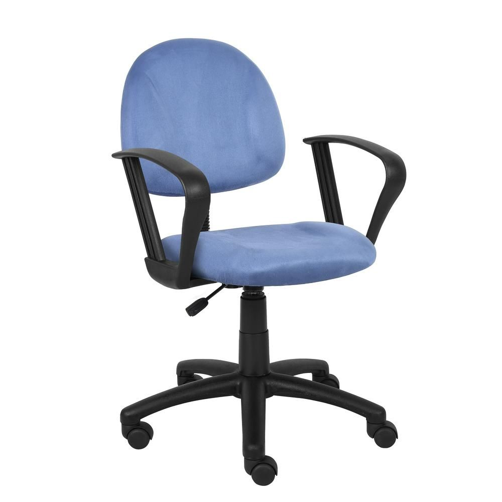 Best Boss Blue Microfiber Deluxe Posture Chair With Loop Arms 400 x 300