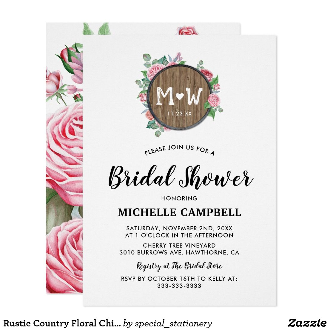 Rustic Country Floral Chic Barn Bridal Shower Invitation | Pinterest ...