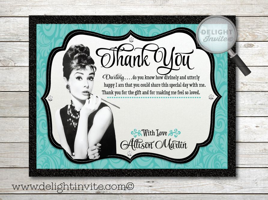 funny bachelorette party sayings for invitations%0A Breakfast at Tiffany u    s Bridal Shower Thank You Card  DI    TY    Custom  Invitations