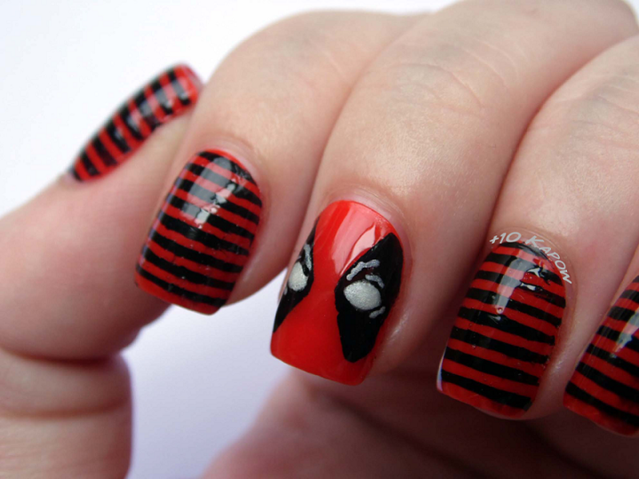 Deadpool-inspired nail art. - Deadpool-inspired Nail Art. Marvel-Inspired DIY Pinterest