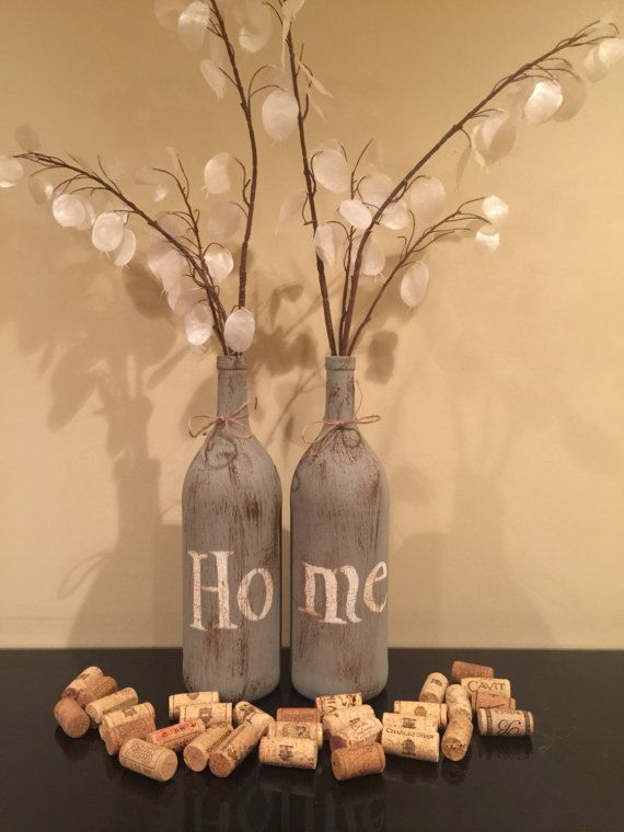 Mason Jar or Wine bottle home decor by RusticHousewives on Etsy #rustichomedecor