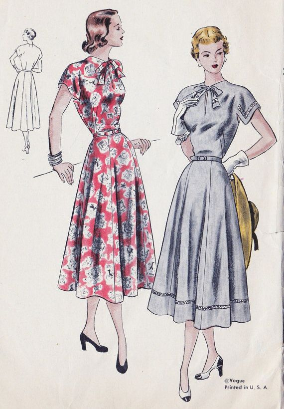 1940s One Piece Dress Vintage Sewing Pattern | vintage sewing ...