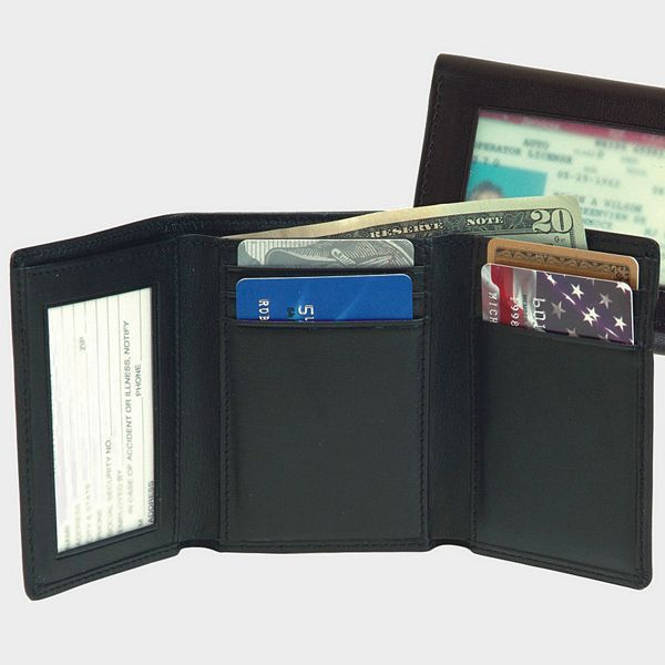 tri fold personalized nappa leather wallet with two id windows