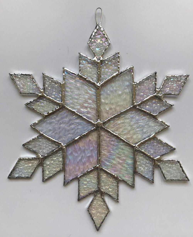 Stained Glass Snowflake Suncatcher Design 12c Etsy Stained Glass Ornaments Stained Glass Gifts Stained Glass Christmas