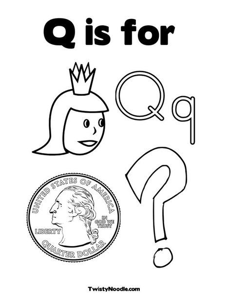 q is for coloring page from twistynoodlecom