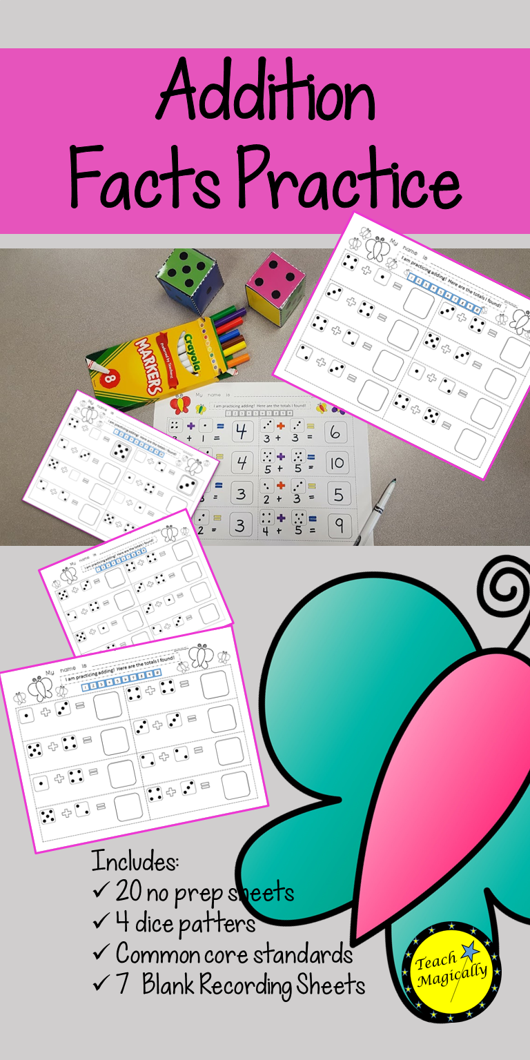 Fun addition no prep worksheets to develop math facts with butterfly theme Perfect for kindergarten first grade or even second grade Perfect for Spring Check it out