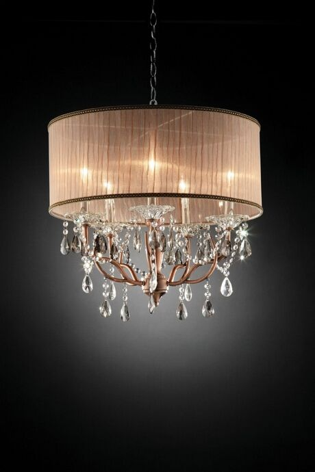 L95126h Christina Hanging Crystals Hanging Ceiling Lamp With Ruffled Lamp Shade Crystal Ceiling Lamps Hanging Ceiling Lamps Ceiling Lights