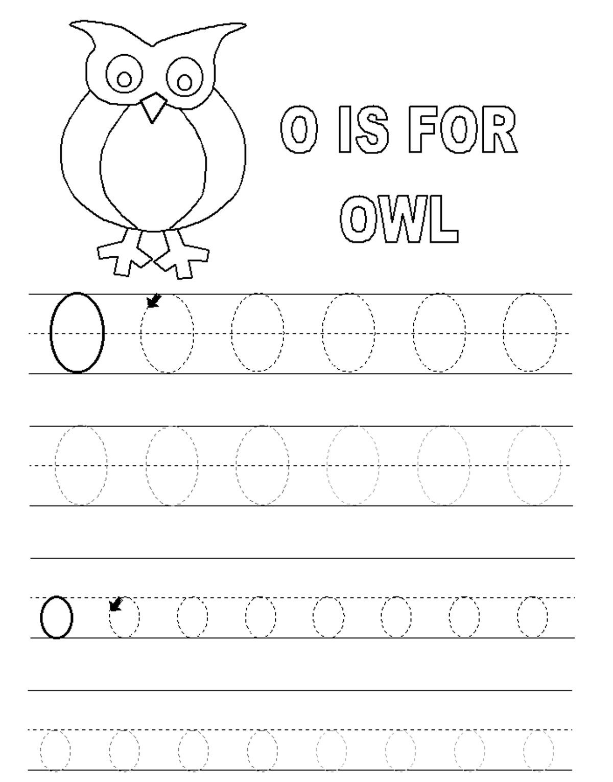 Alphabet Tracer Pages O Owl