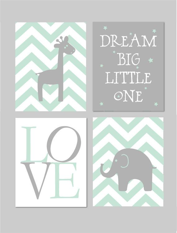 Mint and Grey Nursery Elephant Nursery Dream Big Little One Baby Boy ...