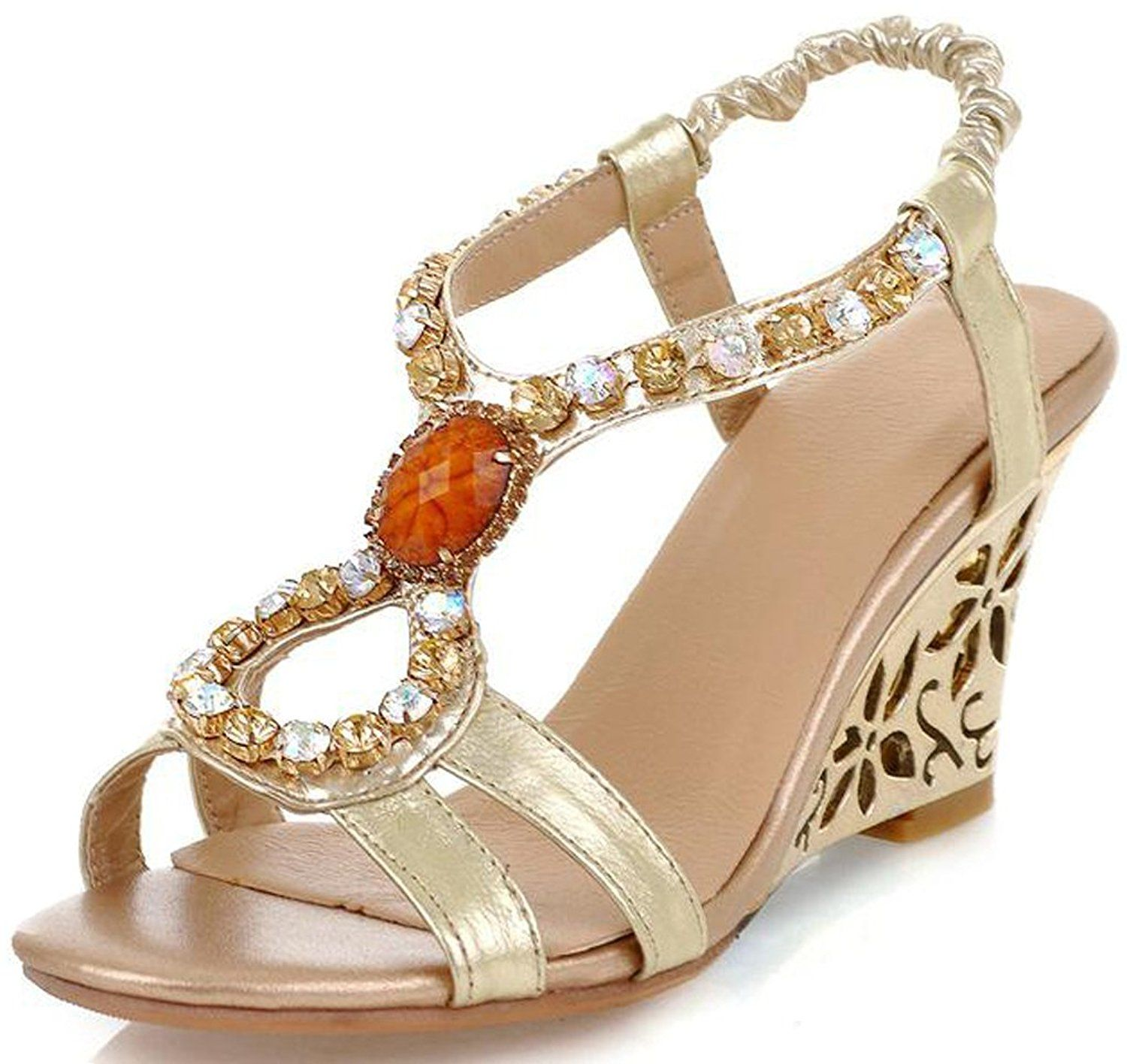 MissPretty Exotic Colorful Summer Sandal Wedge Peep Toe Gems Slingback Heeled Sandal ** You can find out more details at the link of the image.