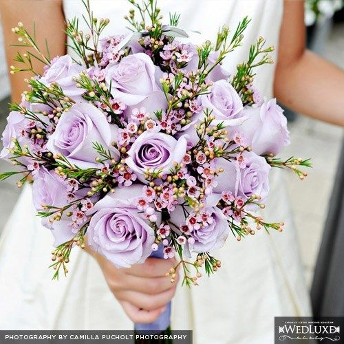 Lavender Rose Gypsophila Bridal Bouquet: Lavender Roses And Pink Wax Flower Bouquet.---Bouquets