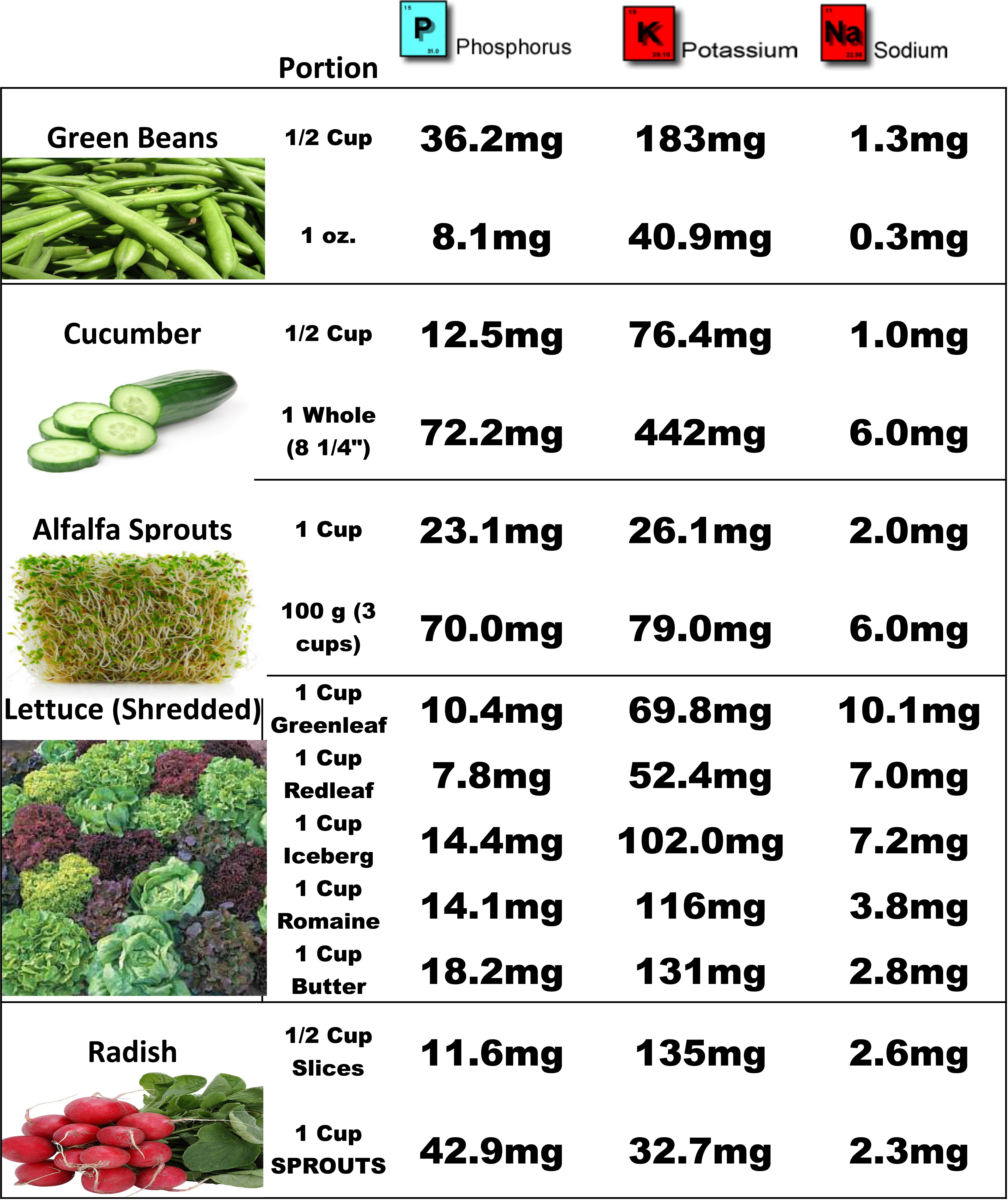 Renalt Food Charts