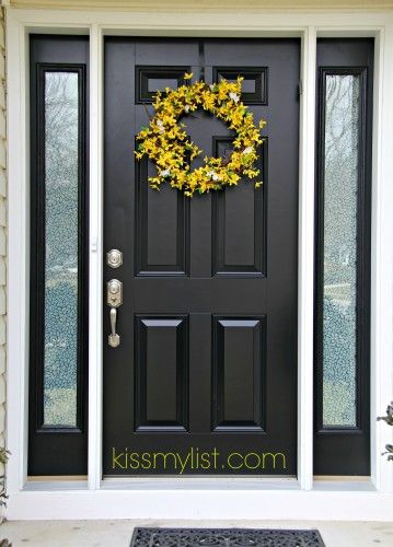 6 Panel Colonial Entry Doors With Decorative Sidelights Google Search Black Front Doors Painted Front Doors Black Entry Doors