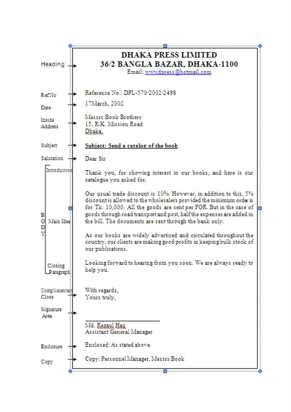 Business Letter With Different Parts Of A Good Business