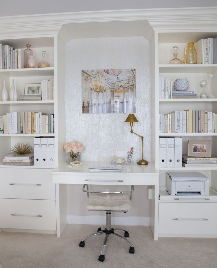 Built In Desk And Shelving Lucite Chair Pretty Neutral Color Palette Gold Accents Wallpapered Accent Niche