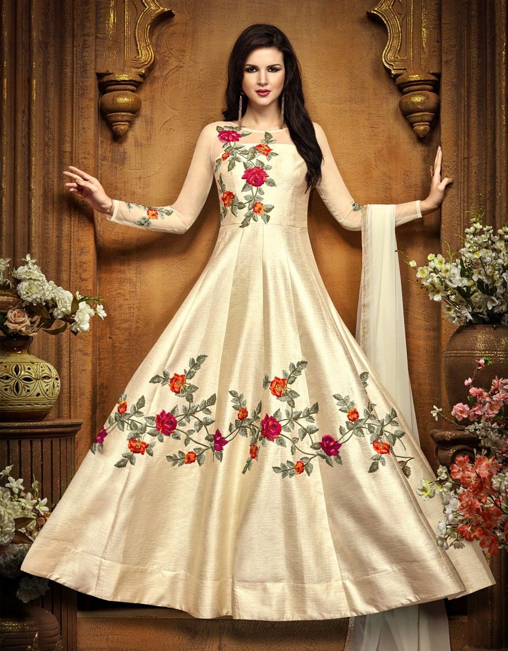 480b0292b2 Beige designer floral embroidered chennai silk gown dress | Things ...