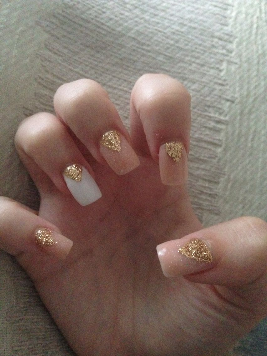 Gold White Acrylic Nails Square Tip Cly Holiday Summer Glitter Glam Triangle