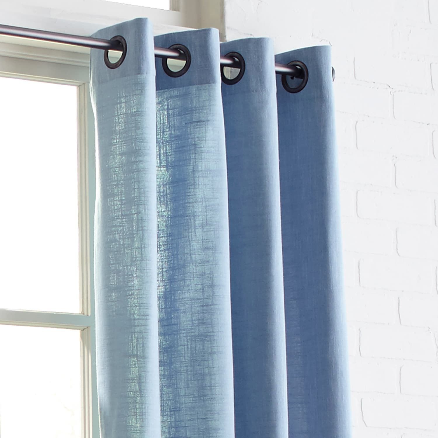 Black And Blue Curtains Cassidy Chambray Cornflower Blue 96
