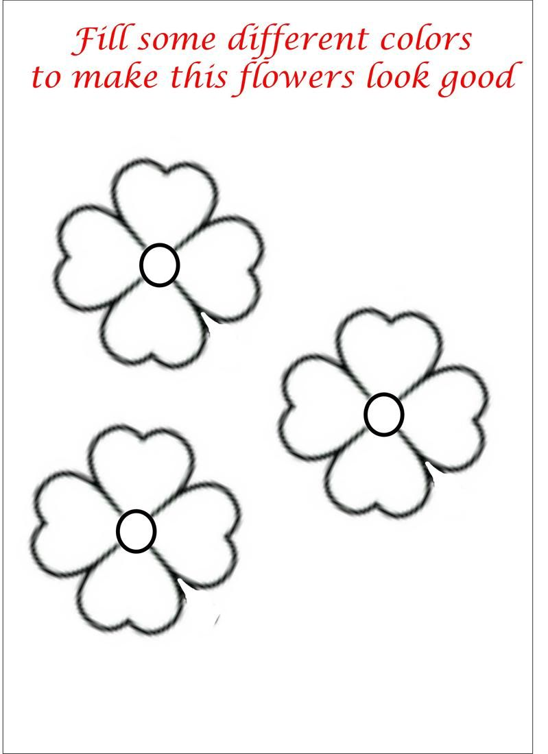 little flower coloring printable page for kids