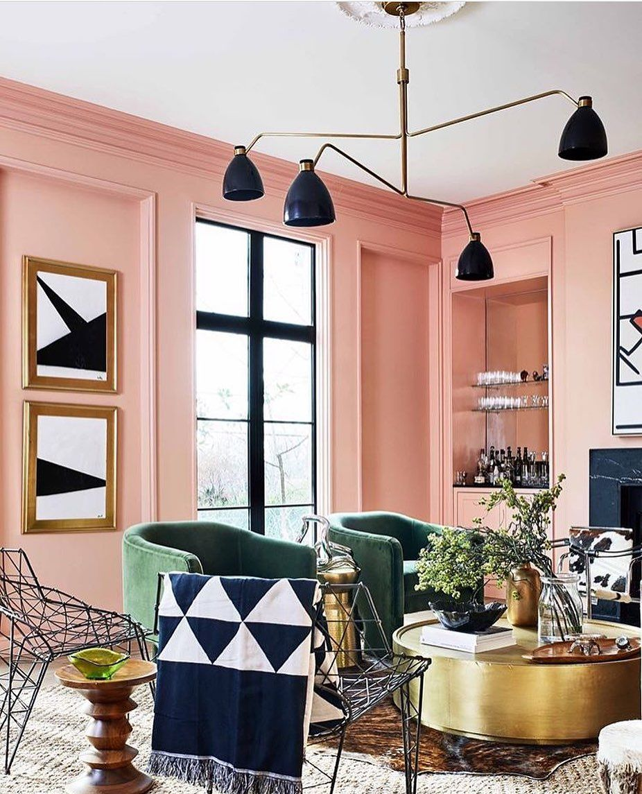 Living Room Envy Loving The Cheerful Peach Walls Emerald Green Chairs And Edgy Pops Of Black Design By In 2020 Peach Living Rooms Colourful Living Room Elle Decor #peach #walls #living #room