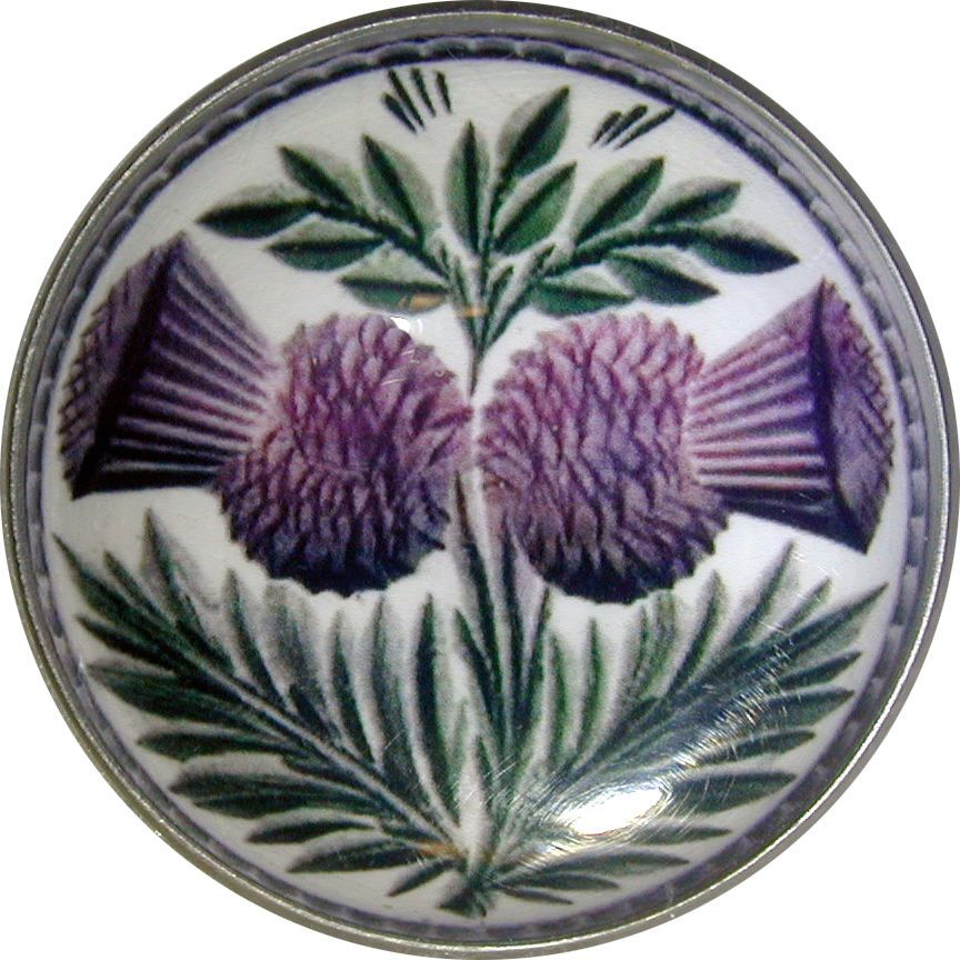 """Crystal Dome Button Scottish Double Thistle  Lg Size 1 /& 3//8/""""  # 03"""