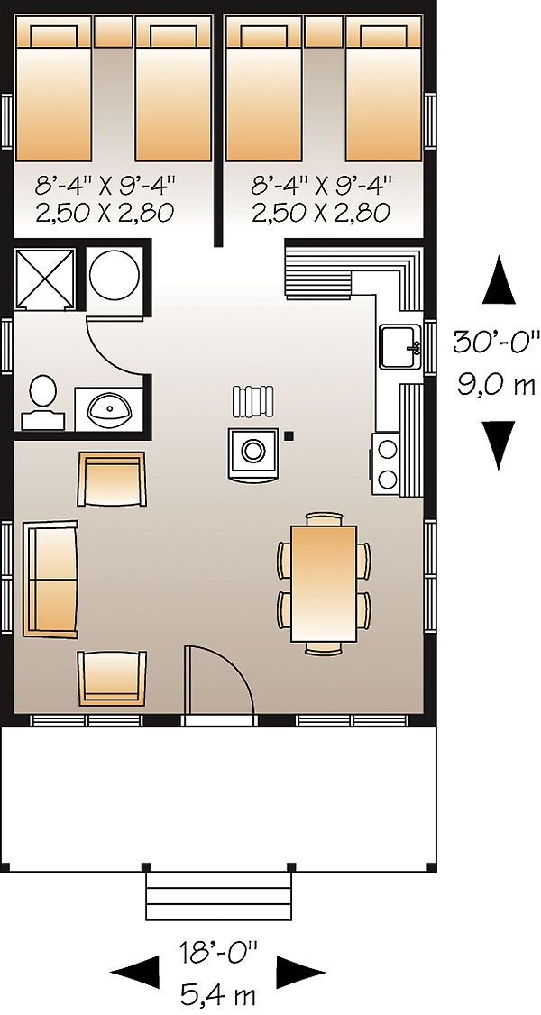 The house designers king fisher heated area 540 sf 18 for Small vacation home plans