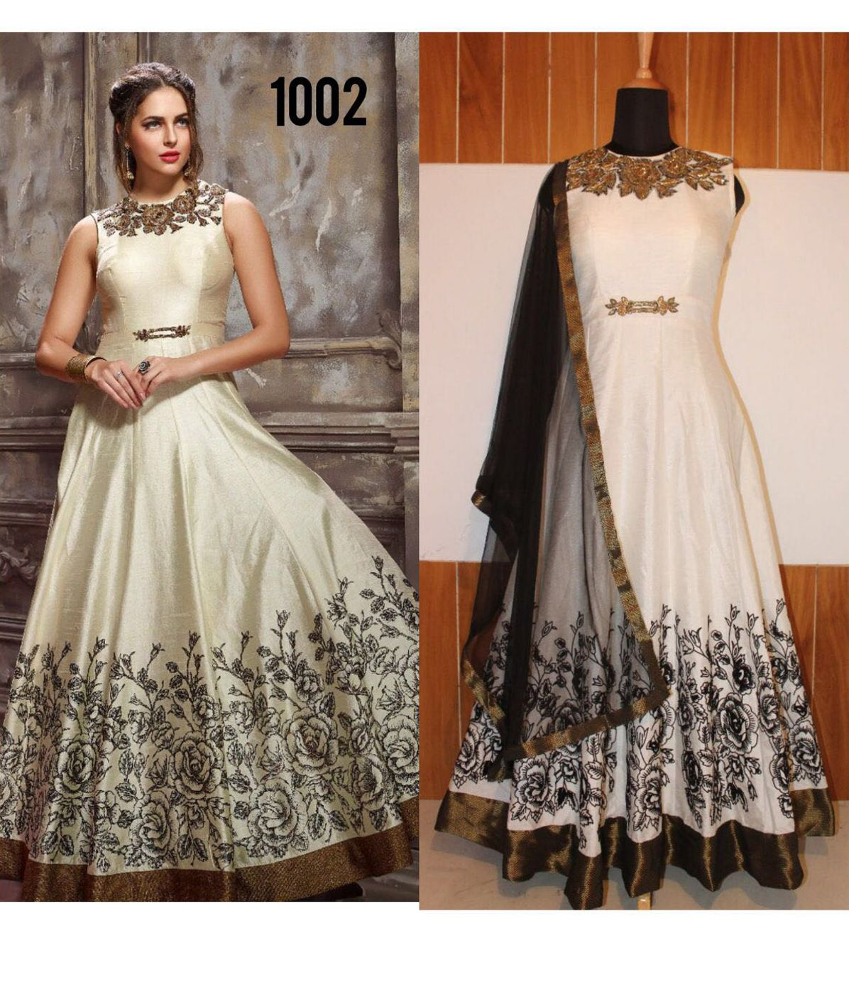 94e3180fbb9d Aligetic Off White Color Banglori Silk Ethnic Gown
