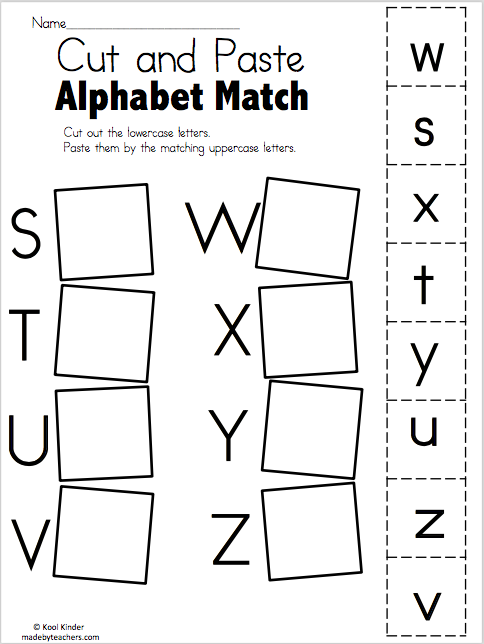 Alphabet Match S To Z Free Worksheets Free Worksheets