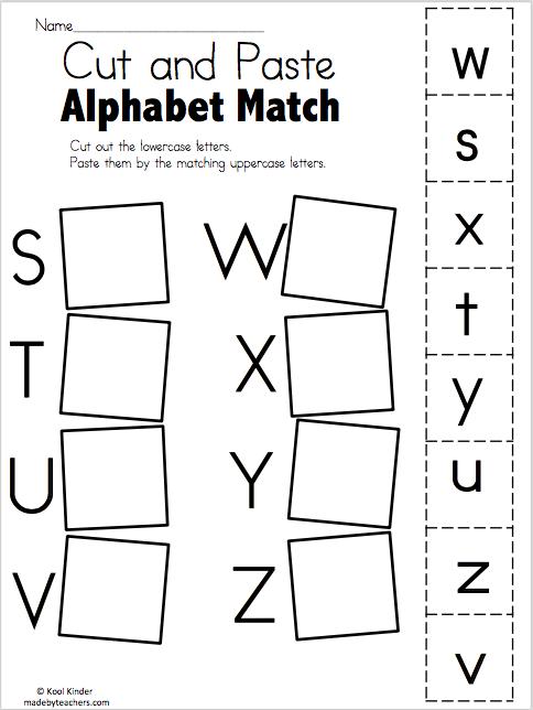 alphabet match s to z free worksheets kindergarten language arts preschool worksheets pre. Black Bedroom Furniture Sets. Home Design Ideas