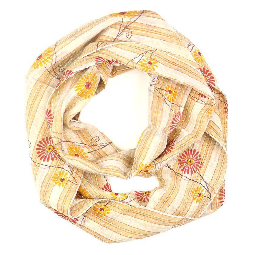 Kantha Infinity Scarf - Cream Daisy