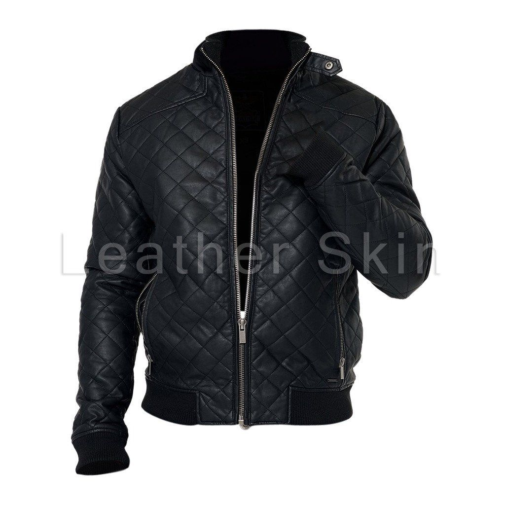 ec15dcfbb7034 Men Black Diamond Quilted Leather Jacket in 2019 | ++ Sunglasses ...