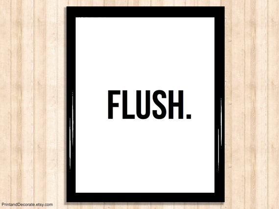 Toilet Poster - FLUSH - printable bathroom sign, toilet sign