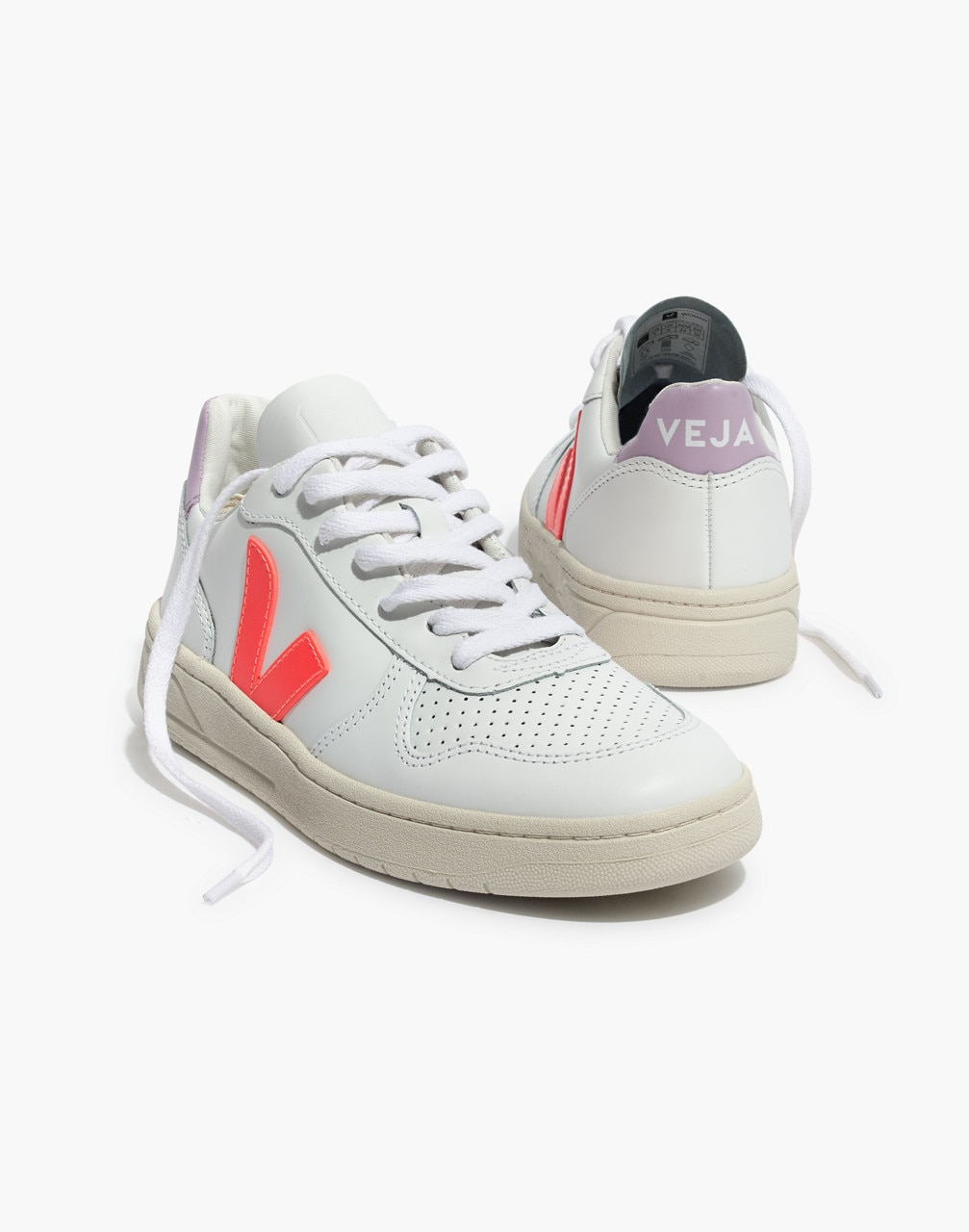 d9a5253300e368 Madewell x Veja™ V-10 Leather Sneakers in Lilac and Neon Orange in purple  orange multi image 1