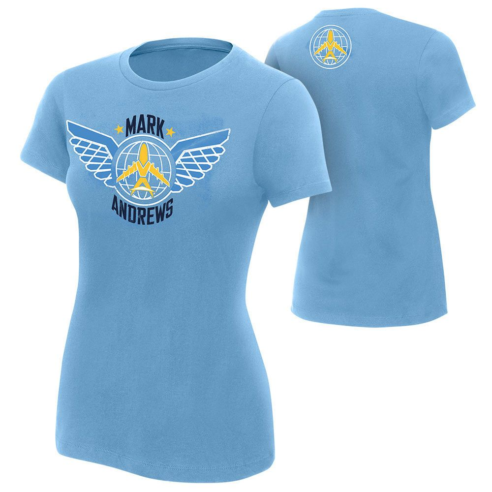 fa77d5381 Official WWE Authentic Mark Andrews NXT Women's T-Shirt Baby Blue ...